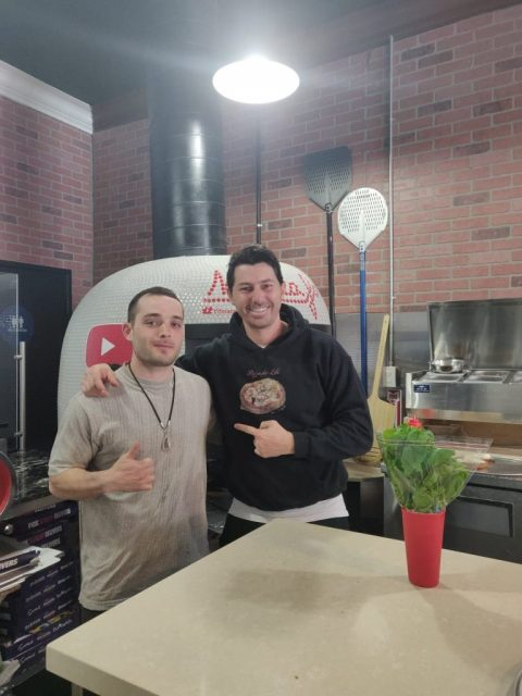 Tyler Anzalone with Pizzaiolo, restaurant owner, and famous Youtuber Vito Iaocopelli